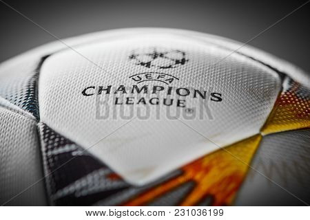 Kiev, Ukraine - February 22, 2018: Official Ball Adidas with Ukrainian symbols for the final of the Champions League