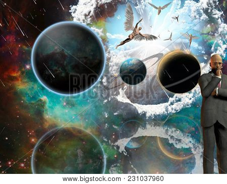 Surreal composition. Thinking businessman. Angels comes from another dimensions. 3D rendering