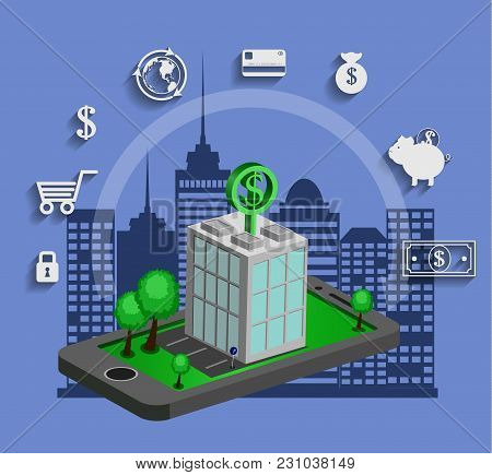 Flat Isometric Mobile Banking, E Banking Concepts. 3d Bank Building Is On Smartphone, Isolated On A