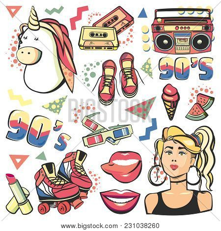 Colorful Retro Collection Fashion Patch Badges With Lips, Sneakers, Girl, Unicorn, Ice Cream, Tape R