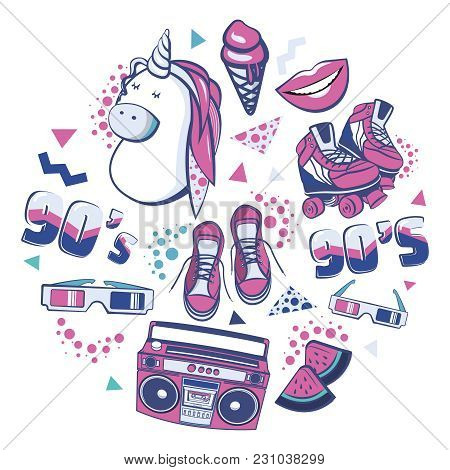Colorful Retro Collection Fashion Patch Badges With Lips, Sneakers, Unicorn, Ice Cream, Tape Recorde