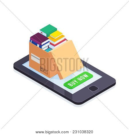 Electronic Books Isometric Concept. 3d Pile Of Books In A Cardboard Box On The Smartphone Screen. Bu