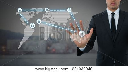 Digital composite of Businessman holding hand open security lock icons connecting on map