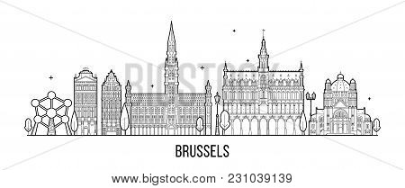 Brussel Skyline, Belgium. This Vector Illustration Represents The City With Its Most Notable Buildin