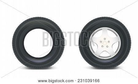 Icons Of Car Parts For Garage, Auto Services. Set Of Automobile Tires Isolated On A White Background