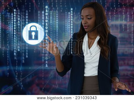 Digital composite of Businesswoman touching security lock icon
