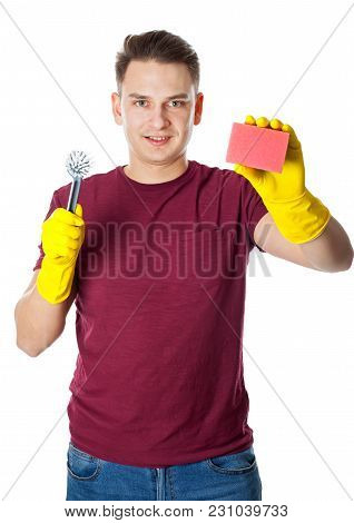 Young Man Wearing Yellow Gloves And Holding Cleaning Supplies, Housekeeper