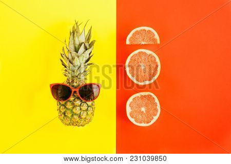 Pineapple Sunglasses Slices Grapefruit Colorful Background Flat Lay Summer Background