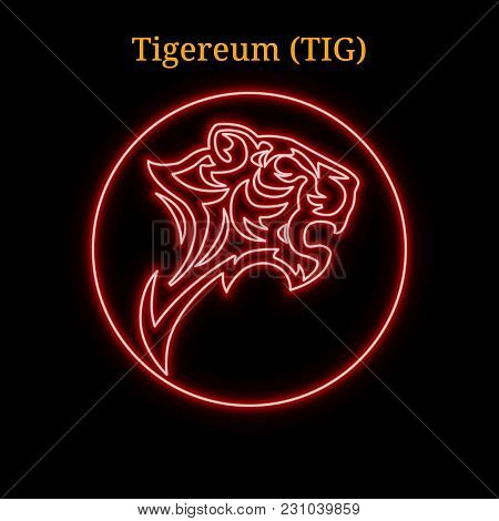 Red Neon Tigereum  (tig) Cryptocurrency Symbol. Vector Illustration Eps10 Isolated On Black Backgrou