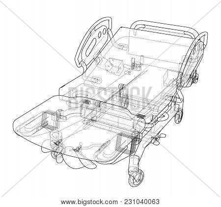 Hospital Bed Sketch. Vector Rendering Of 3d. Wire-frame Style. The Layers Of Visible And Invisible L