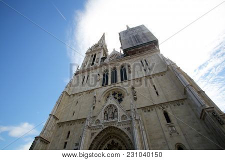 ZAGREB, CROATIA - JULY 03: Zagreb cathedral dedicated to the Assumption of Mary in Zagreb, Croatia on July 03, 2017.