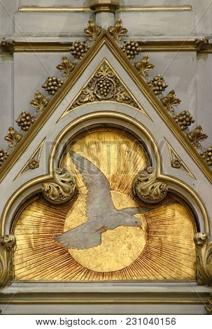 ZAGREB, CROATIA - AUGUST 16: Holy Spirit Bird, altar of Saint Jerome in Zagreb cathedral dedicated to the Assumption of Mary in Zagreb, Croatia on August 16, 2017.