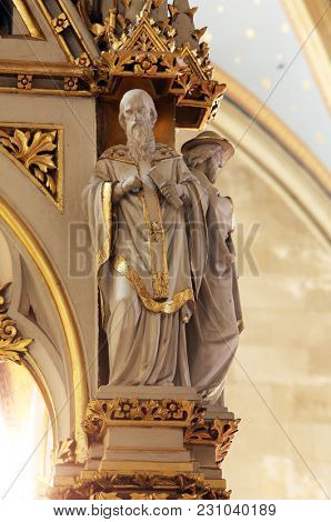 ZAGREB, CROATIA - APRIL 15: Doctors of the Church, statues on the main altar in Zagreb cathedral dedicated to the Assumption of Mary in Zagreb on April 15, 2015.