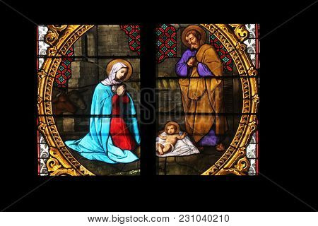 ZAGREB, CROATIA - SEPTEMBER 26: Nativity Scene, Birth of Jesus, stained glass in Zagreb cathedral dedicated to the Assumption of Mary in Zagreb on September 26, 2013.