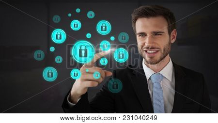 Digital composite of Businessman touching security lock icons connecting on map
