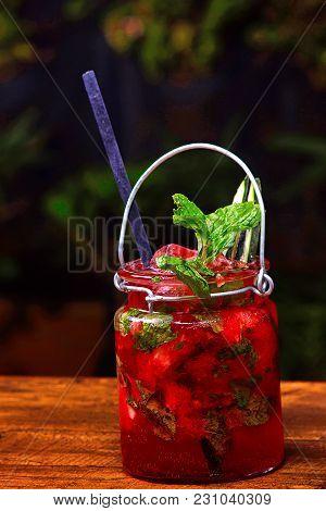 Close View Of Strawberry Ginger Kombucha Mocktail, Pune, India
