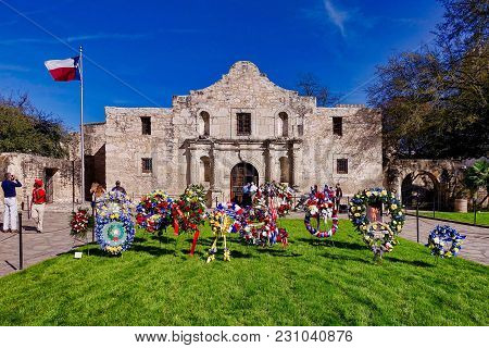 San Antonio, Usa, 2018.03.06.: On March 6, 2018 The 182. Anniversary Of The Battle At The Alamo Was