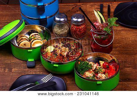 Tiffin Box, Italian Food. Nougat Leyerd Cookies, Berry Pilaf Meat Lees Meatballs Tofu Skewers, Straw