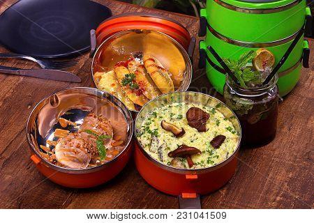 Tiffin Box, Italian Food. Corn Spinach Cheese Panzerotti S, Brocolli And Curried Mushroom Risotto, C