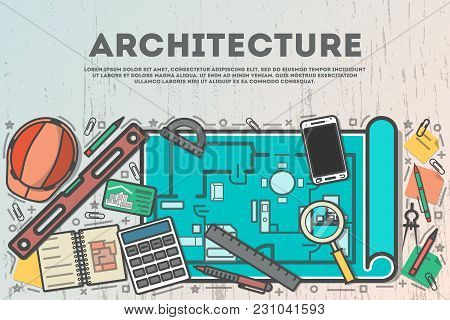 Architecture Top View Banner In Line Art Style  Illustration. Building Project, Design And Construct