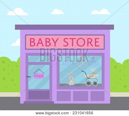 Purple Facade Baby Store Building With Sign Board And Toys In Shop Window  Illustration. Concept Fro