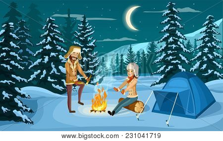 Tourist Camp In Winter Forest At Night  Illustration. People Sitting Near Campfire And Tourist Tent