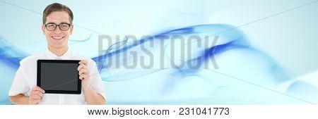 Digital composite of man holding tablet