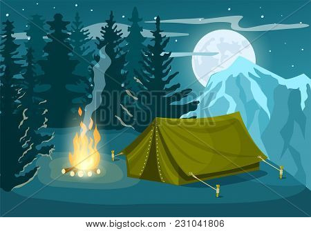 Tourist Camp In Winter Forest At Night  Illustration. Campfire And Tourist Tent On Snowy Meadow. Cam
