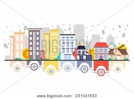 Investments In Real Estate  Illustration. Design Concept For Property Investment, Buying And Renting