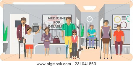 Disabled People In Hospital Banner In Flat Style  Illustration. Invalid Persons, Blind Woman, Broken