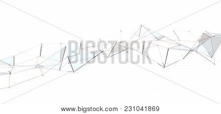 White Abstract Technology Background With Plexus Elements. 3d Rendering