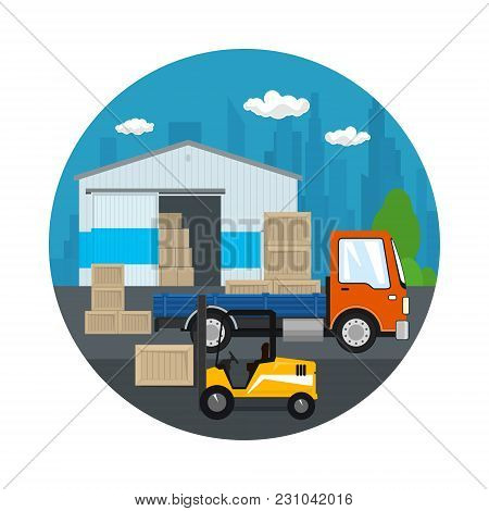 Icon Warehouse And Transport Services , Forklift Truck And Small Truck With Boxes On The Background