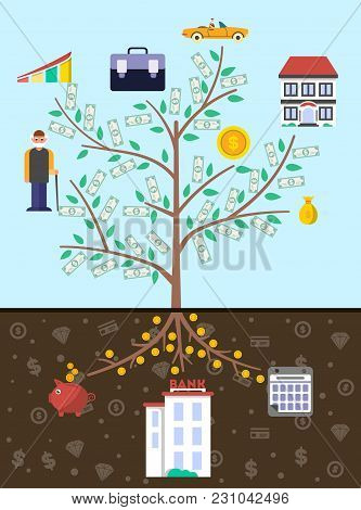 Investment In Old Age Infographics With Money Tree  Illustration. Presentation Of Retirement Money,