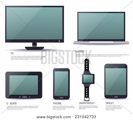 Electronic Smart Device Set With Blank Screen Isolated On White Background  Illustration. Ebook, Tv,