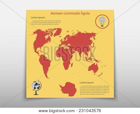 Map Geographic Business Infographics Leaflet Cover Presentation Abstract, Technology Annual Report B