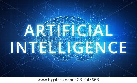 Blockchain technology network futuristic hud polygon human brain on peer to peer blockchain network technology background represent ai artificial intelligence and cyber space concept.