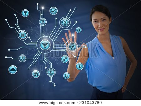 Digital composite of Businesswoman touching various business icons interface