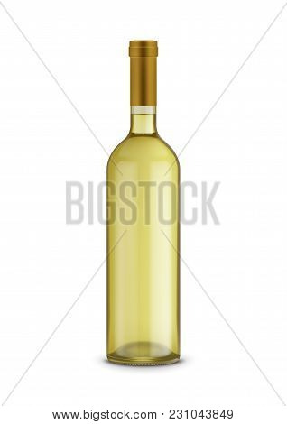 Wine Bottle  Isolated On White Background. Glass Bottle Mockup For Design Presentation Ads.