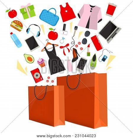 Orange Paper Shopping Bag With Purchase Isolated On White Background  Illustration. Product Coming O