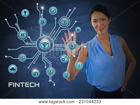 Digital composite of Businesswoman touching with various business icons interface