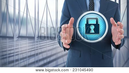 Digital composite of Security lock icon and Businessman with hands palm open in city office