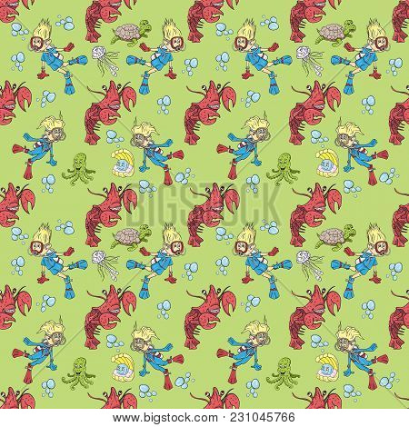 Vector Seamless Pattern Illustration On Isolated Background Of A Boy And Girl Wearing Scuba Gear Amo