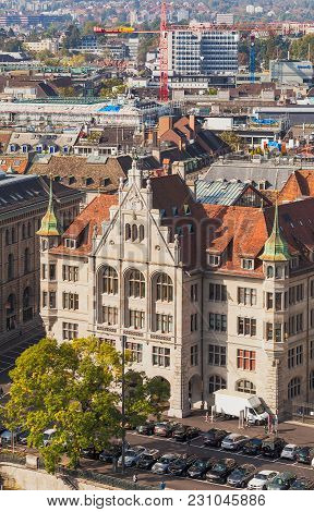 Zurich, Switzerland - 24 September, 2014: View Of The City Of Zurich From The Tower Of The Grossmuns