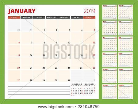 Calendar Planner Template For 2019 Year. Week Starts On Sunday. Vector Illustration