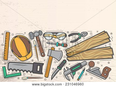 Woodworker Top View Banner In Line Art Style  Illustration. Carpentry Professional Services, Forest