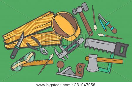 Woodworker Workplace Top View Banner  Illustration. Carpentry Professional Service, Forest Product,