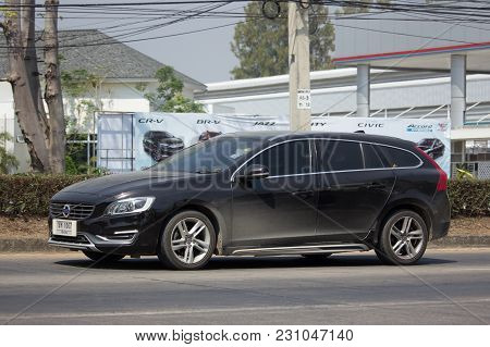 Chiang Mai, Thailand -february 27 2018:   Private Car, Volvo V60. Photo At Road No 121 About 8 Km Fr
