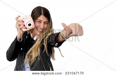 Young Attractive Woman Holding Camera