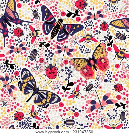 Flower Butterfly And Bug Seamless Pattern Vector Illustration. Butterfly, Ladybug, Beetle, Swallowta
