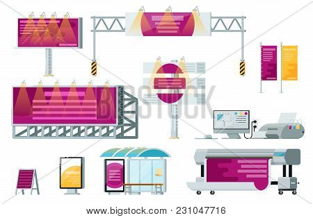 Outdoor Advertising Set Isolated Vector Illustration. Printing Advertising Service, Road Billboard,